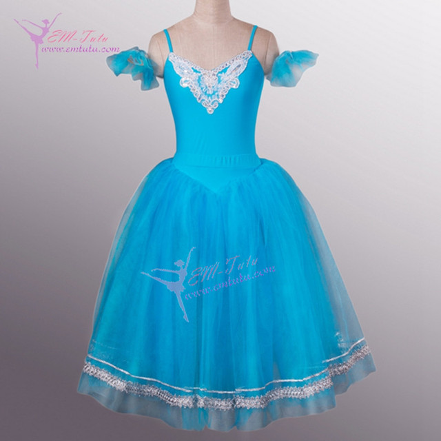 2516813a US $100.0  Dziecko niebieski romantyczny balet trykot stroje dziewczyn  oddzielnie z pół Tutu spódnica baleriny długi Tutu tiulowa sukienka w ...