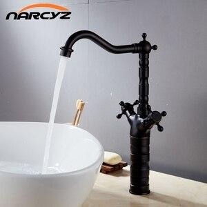 Image 1 - 新スタイルのレトロなホットとコールド蛇口黒くキッチンスイベル真鍮デザイナー蛇口シンク洗面器ミキサータップ B3214