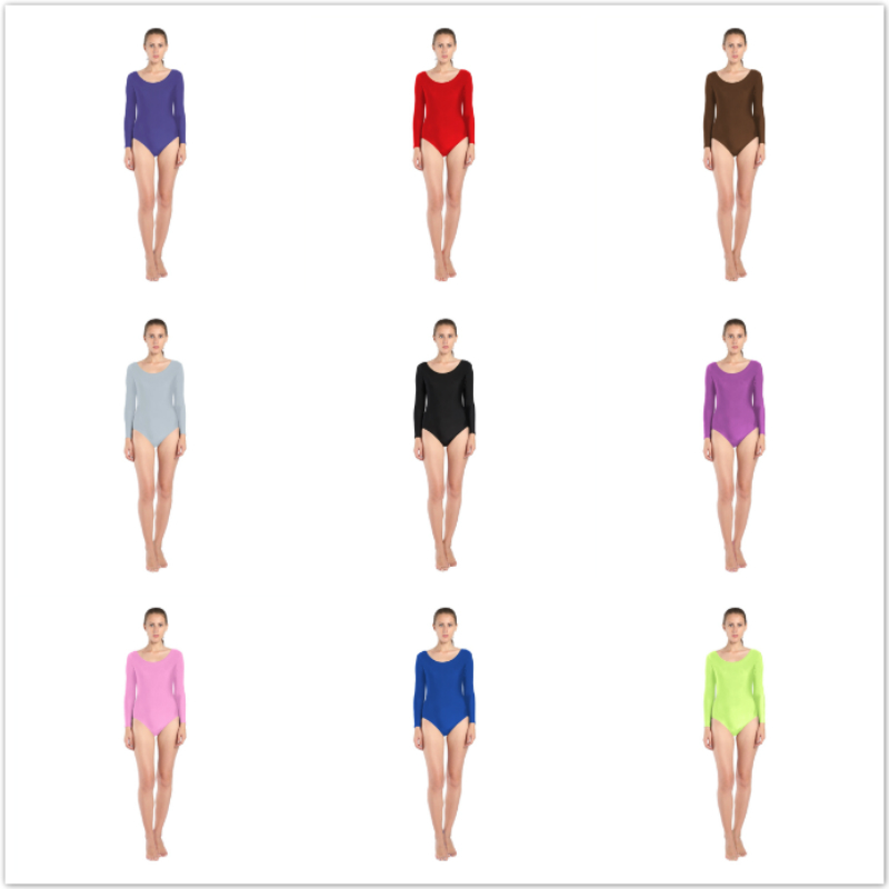 23 colors Women Ballet Gymnastics Leotard Long Sleeve Black Leotard for Toddler Spandex Lycra Scoop Neck Dance adult Leotards