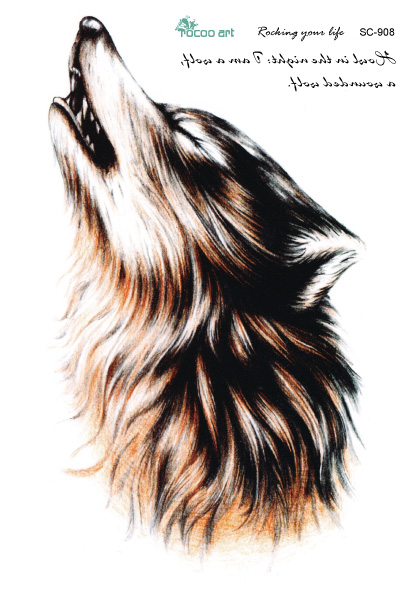 Sc2908 Large 3d Sketch Horrible Brown Howl Wolf Head Designs Cool Chest Body Art Temporary Tattoo