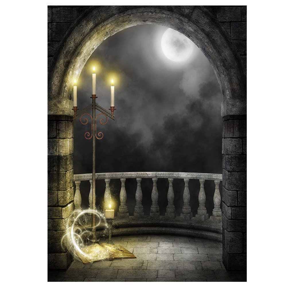 Vinyl Moon Night Theme Balcony Candle Lamp Backdrops 5x7ft/150x210cm Seamless Photography Backgrounds Photo Props moon flac jeans