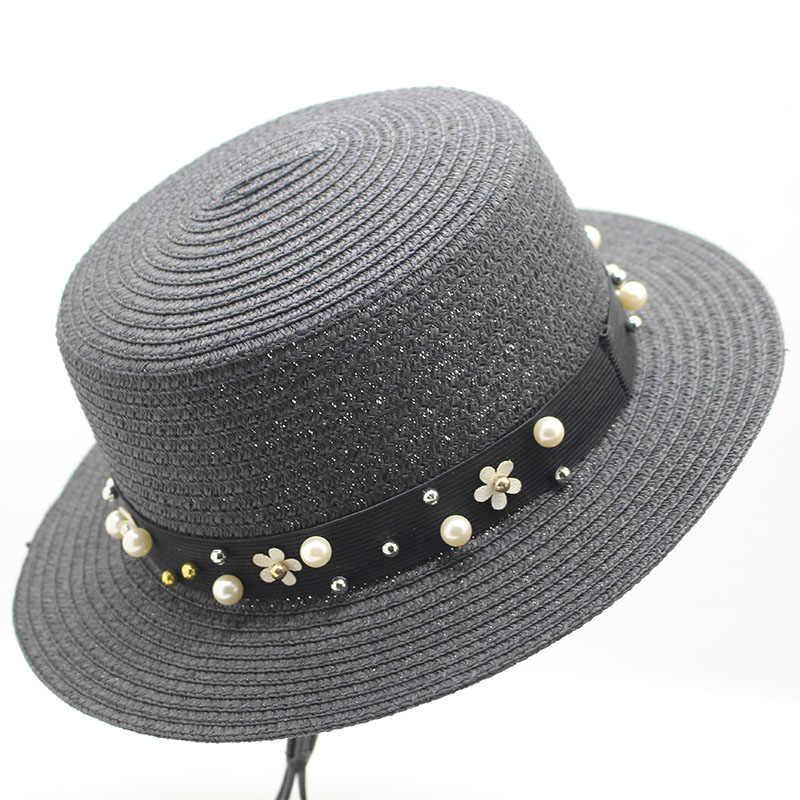 520a2bf8 ... Women Beach CAPS Sun Visor Hats Straw Panama Hats for Lady Elegant  Pearl Sun Hat Wide ...