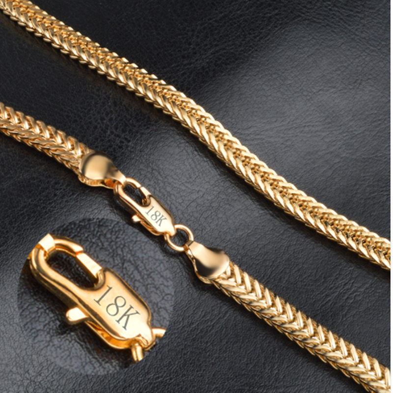 Hot Sale 18K Gold Exquisite Smooth Man/Women Necklace Chains With Lobster Clasps Set Heavy Jewelry Factory Price