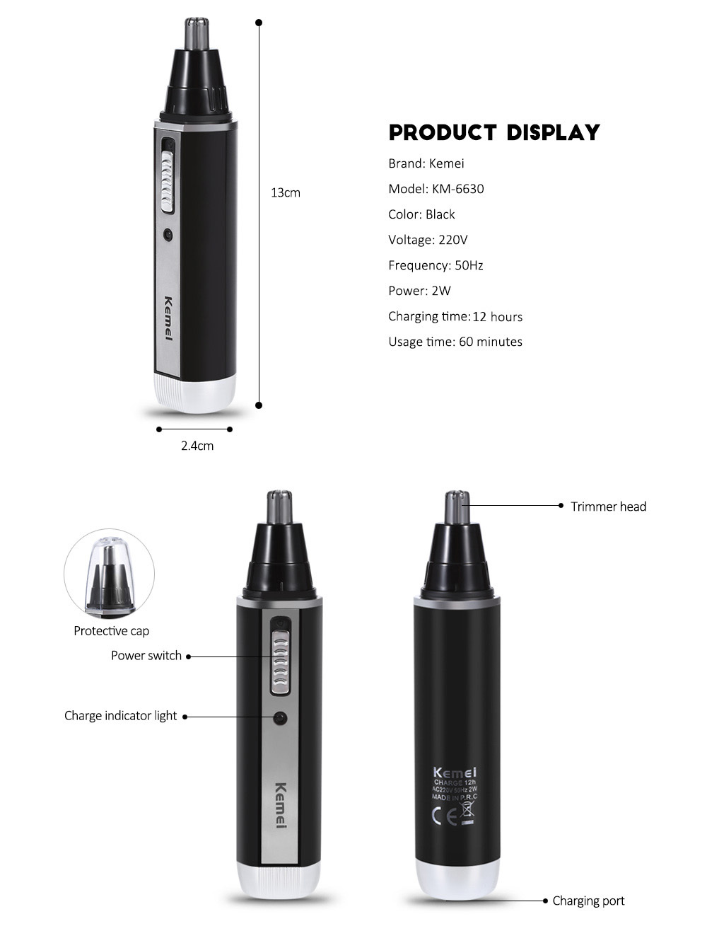 Kemei KM - 6630 4 in 1 Nose Hair Beard Eyebrow Rechargeable Electric Trimmer Set