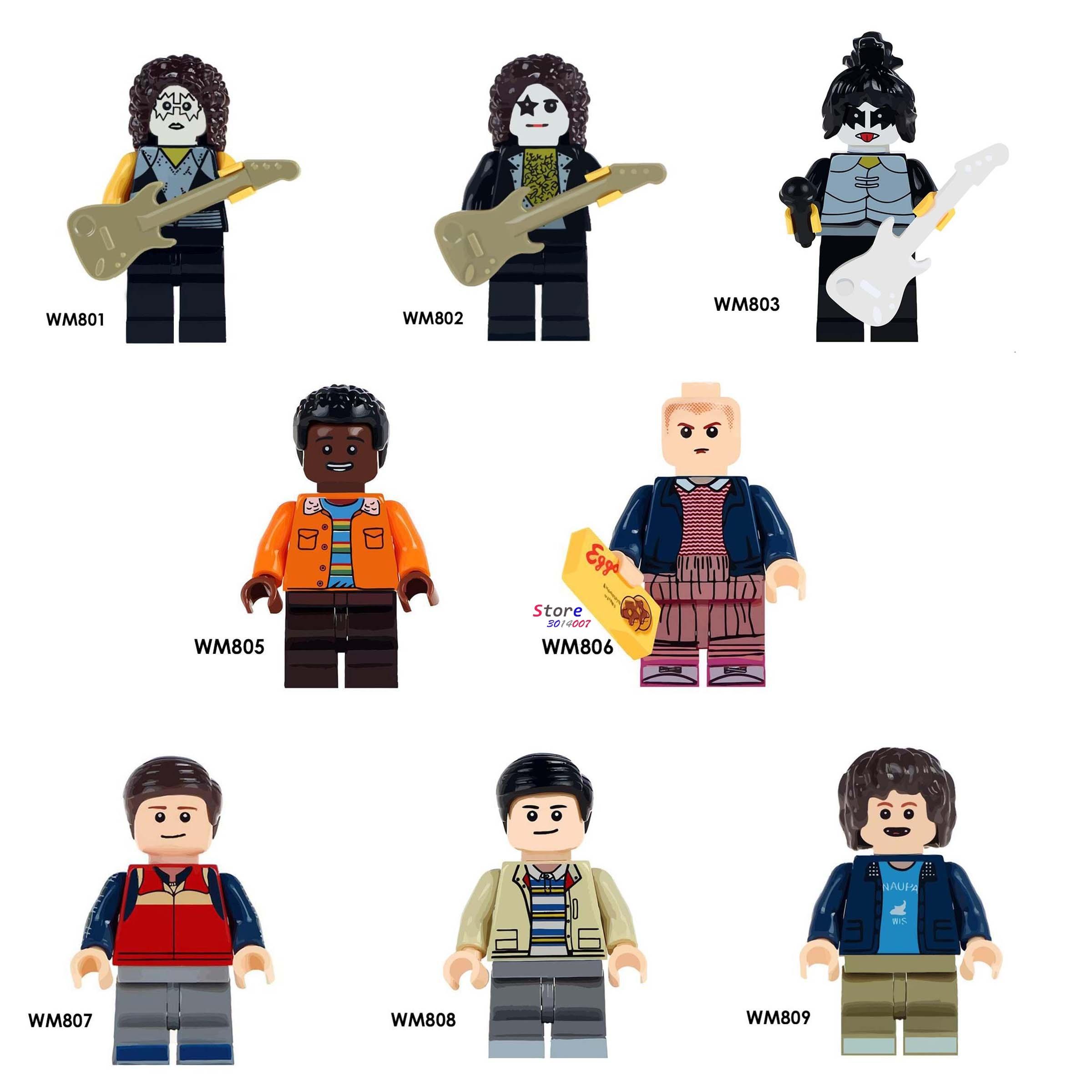 50pcs  Band Singer Kiss Simmons  Stranger Things Mike Dustin Lucas Eleven Will building blocks toys for boys-in Blocks from Toys & Hobbies    1
