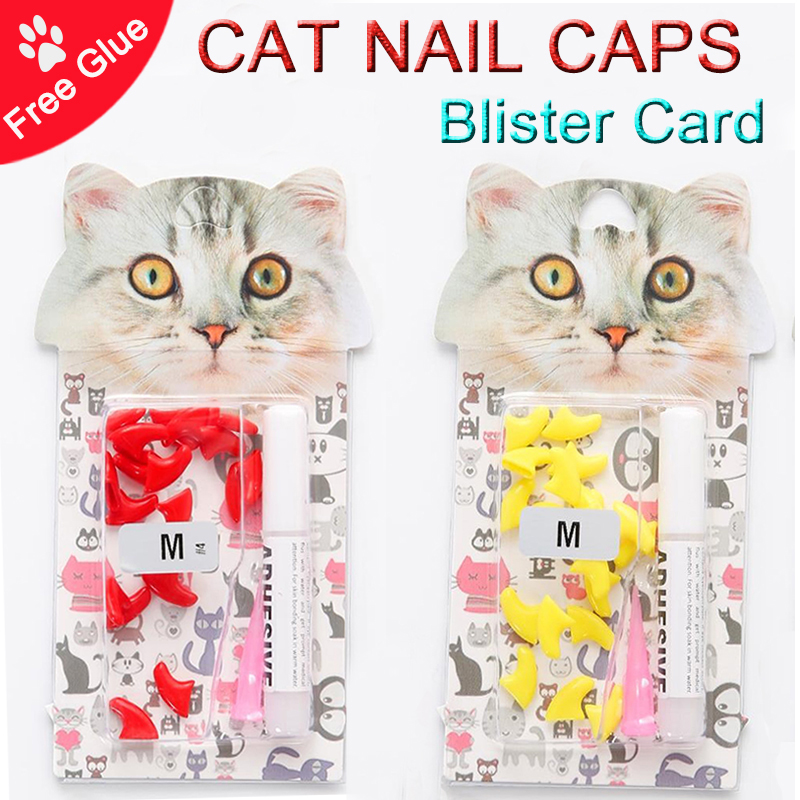 20 Pcs/lot Blister Card Anti-scratch Soft Cat Nail Caps Nail Cover Pet Nail Protector With Glue And Applicator Size Xs S M L