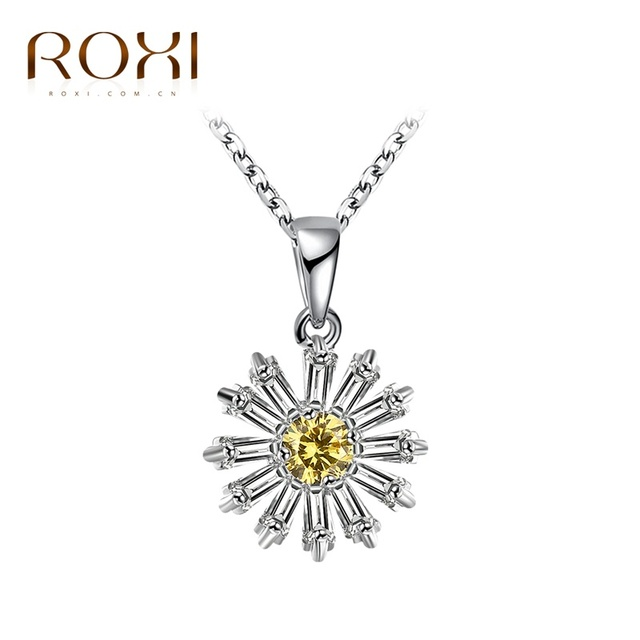 Jewelry Daisy Sunflower Pendent with Necklace Silver Plated Chain for Women Ladies Girl gJjg07i