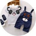 Estilo oso Niños ropa de verano Ropa Del Bebé Fija 2 Unids trajes de cuello Redondo Camisa Del Bebé + Pantalones de Algodón bebé de los muchachos Chándales chicas