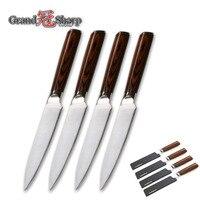 4 Pcs Steak Knife Set GERMAN DIN1.4116 Molybdenum Vanadium Steel Kitchen Knife Set Gift Box Wedding Gift Utility Kitchen Knives