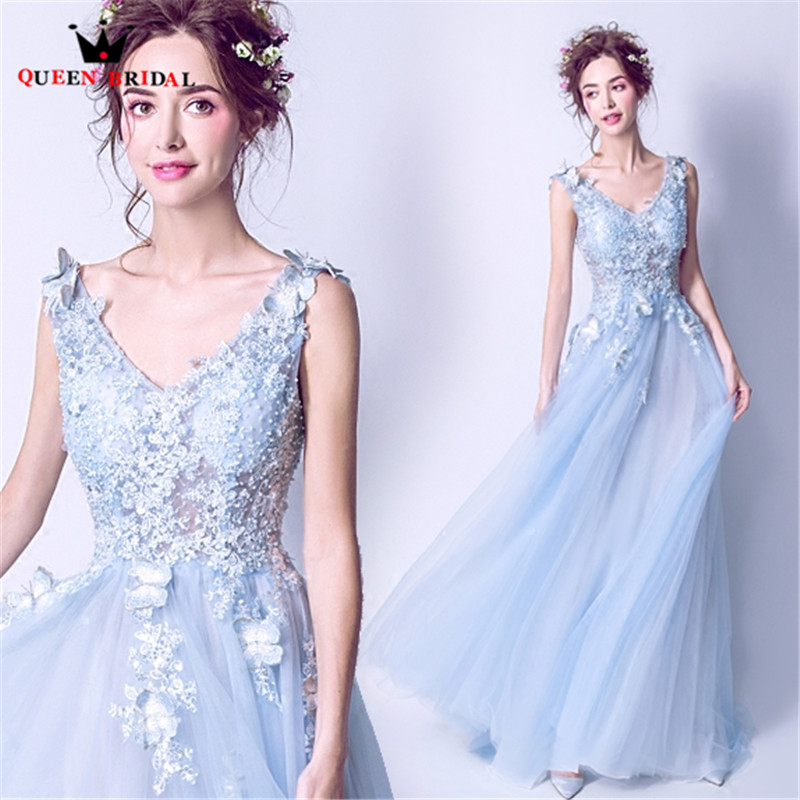 QUEEN BRIDAL Evening Dresses A line Tulle Lace Beaaded Blue Long Formal Party Prom Dress Gowns