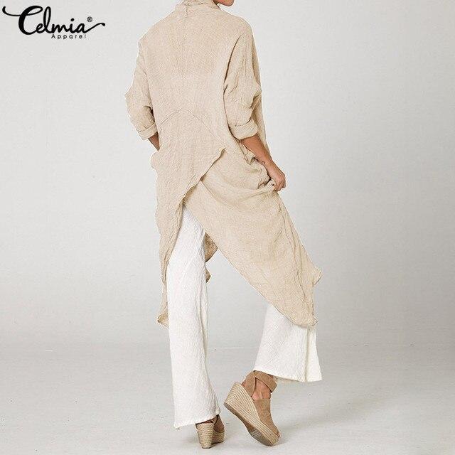 Celmia gran oferta de talla grande mujeres Tops y blusa 5XL Vintage Camisa larga Casual capucha cuello de manga larga asimétrica Blusas femeninas 3