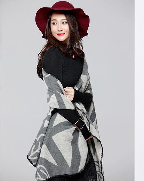 Marca mulheres Poncho de lã Cashmere cachecol Poncho capa xadrez inverno cheque cobertor Poncho bufanda manta
