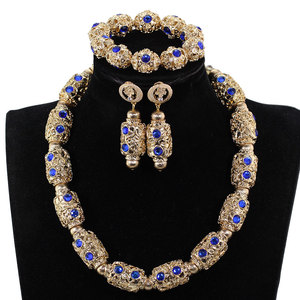 Image 3 - Decorate Royal Blue Rhinestone African Gold Beads Necklace Jewelry Nigeria Wedding Beads Necklace Earrings Bracelet P84 3