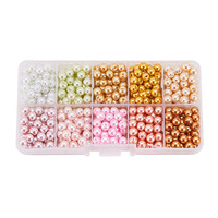 Jewelry Beads 1Box Mixed Style Round Glass Pearl Beads Dyed Mixed Color 6mm Hole 1mm About