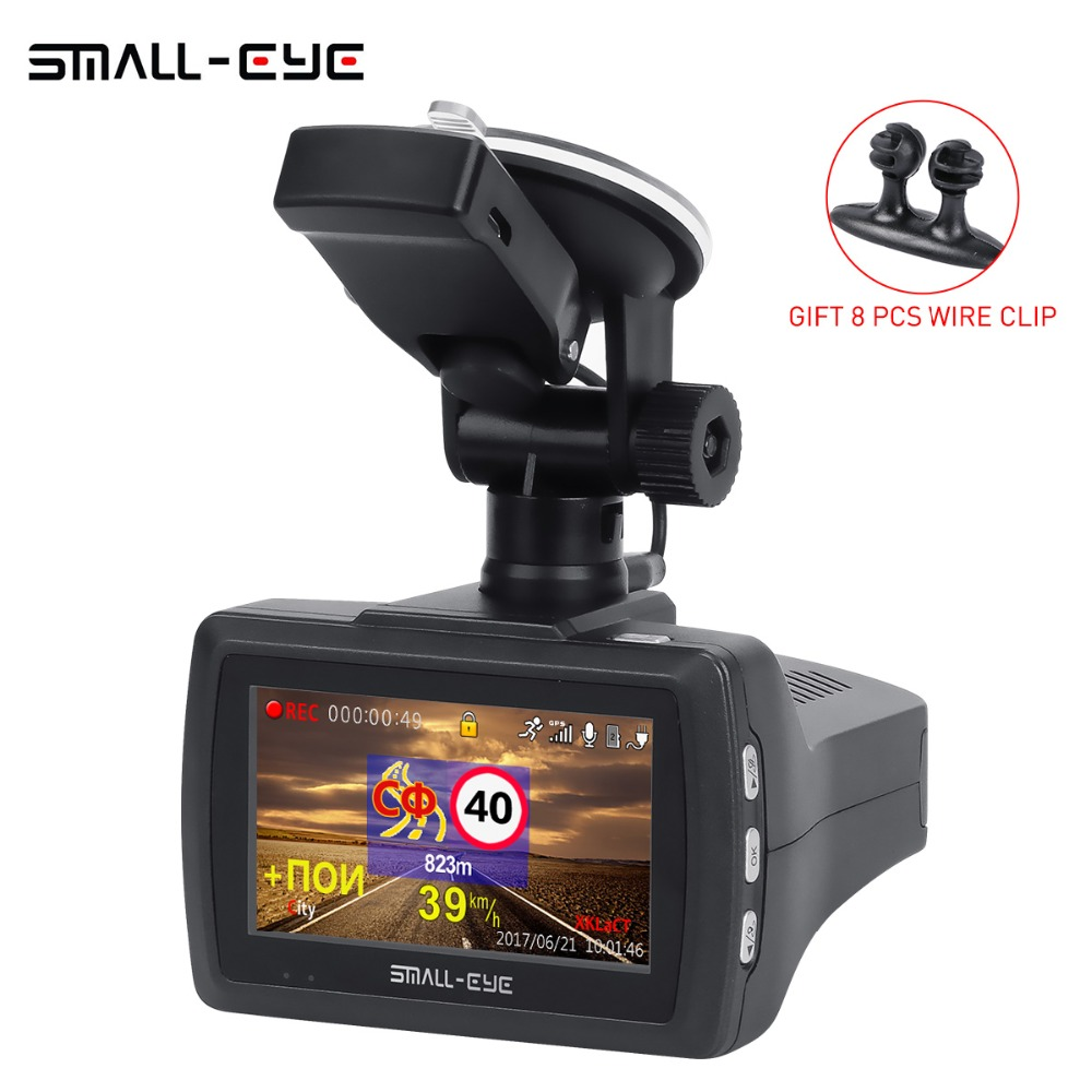 SMALL-EYE Ambarella A7 Car DVR Camera Radar Detector Gps 3 IN 1 1080P Full HD 1296P Video Recorder Registrar Dash cam 170 Degree