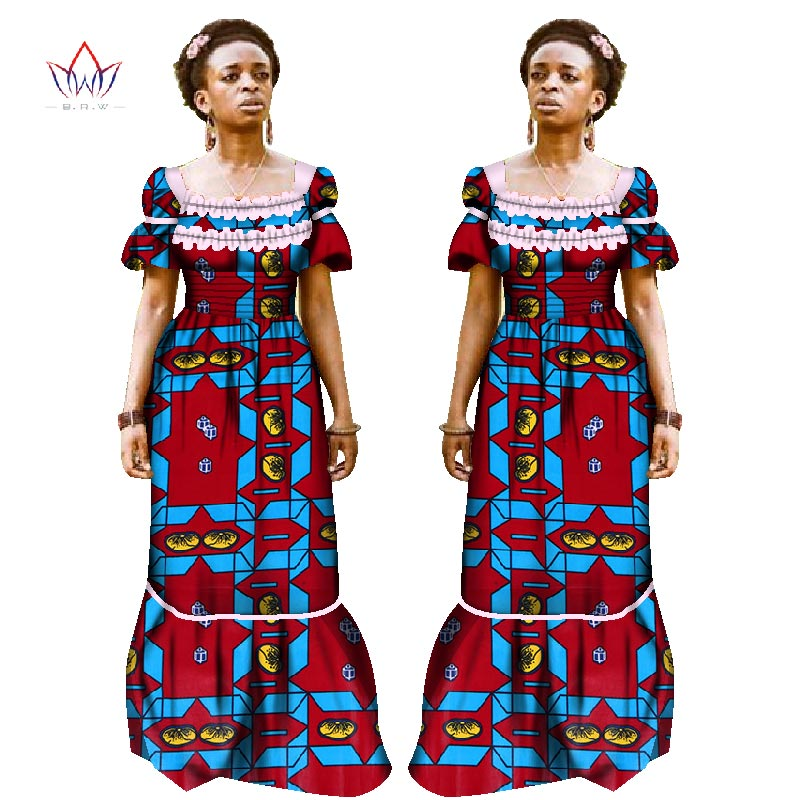 Plus Size dresses women traditional african Clothing square collar Africa Dashiki cloth puff sleeve cotton long dress 7xl WY1253