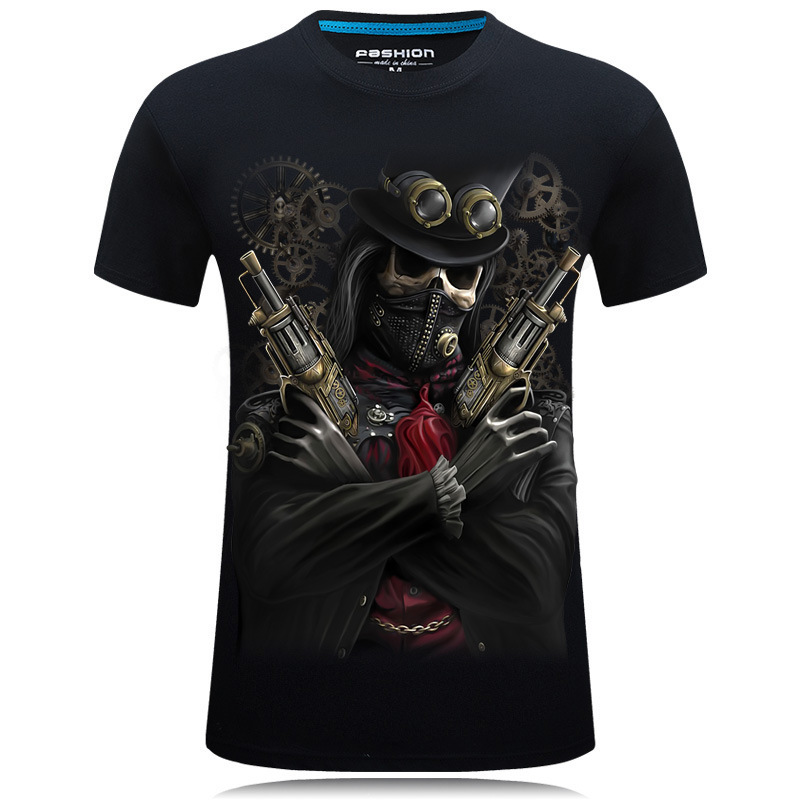 New Summer Style 3D Skull Mens Chain Casual Brand T tee Shirt homme Masculina Wear t-shirt