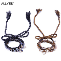 ALLYES Ethnic Rope Shell Crystal Braided Charm Bracelets Fashion Rhinestone Long Tassel Metal PU Leather Women Jewelry Bangles