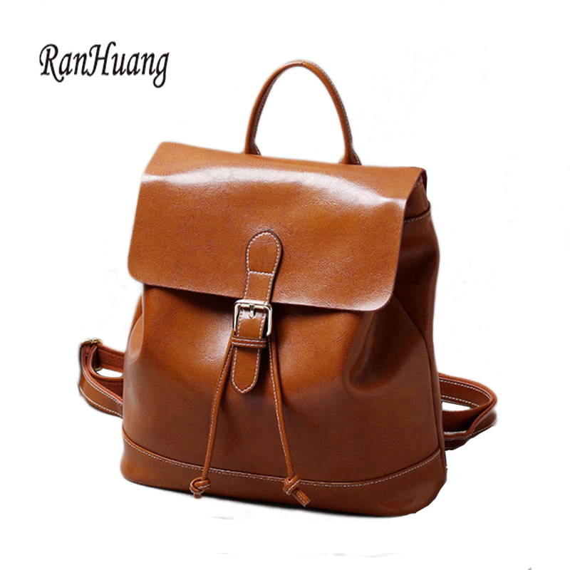 RanHuang New 2017 High Quality Women Genuine Leather Backpack Fashion Backpack Preppy Style School Bags For Teenage Girls A789 women back bag high quality mochila new 2017 women s backpack for teenage girls waterproof nylon preppy style school bags