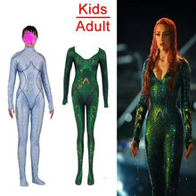 Neue Film Aquaman Atlantis Königin Atlanna & Justice League Mera Cosplay Kostüme Mädchen Frauen Halloween Party Overalls Zentai Anzug(China)