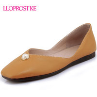 LLOPROST KE 2018 Newest Women Shoes Flats Simple Flat Heel Slip On Shoes Black White Yellow
