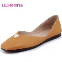 LLOPROST KE 2018 Newest Women Shoes Flats Simple Flat Heel Slip On Shoes Black White Yellow