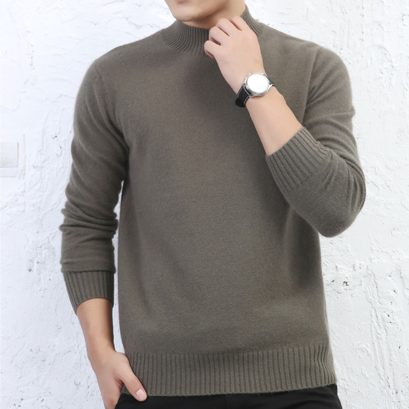 LHZSYY Autumn Winter New Mens 100% Pure Cashmere Sweater 2019 Loose Half-high Collar Solid Color Knit Thick High-Grade Pullover