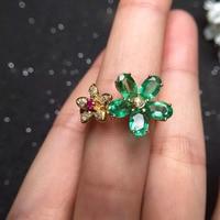 Fine Jewelry Идеальный 18 К золото идеальная высшего сорта зеленый изумруд кольца Кольцо женское золотое 3.42 грамм