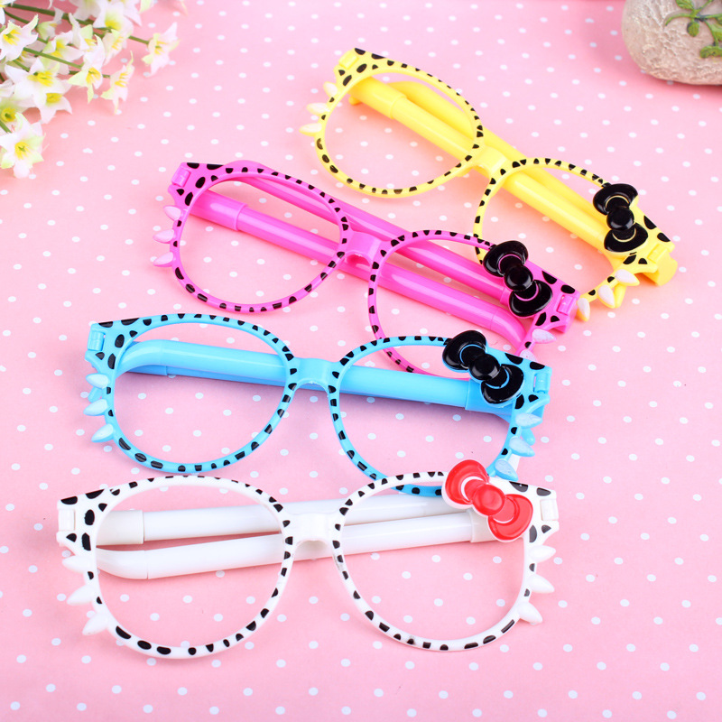 ФОТО 50pcs/set Spectacle Frame Cartoon Pen Cute Lovely Korean Creative Novelty Stationery Simulation Glasses Pen Wholesale