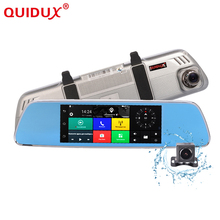 On sale QUIDUX DVR 3G Android 5.0 GPS 7.0 inch rearview mirror camera ROM 16GB night vision car video recorder car dvr with two cameras