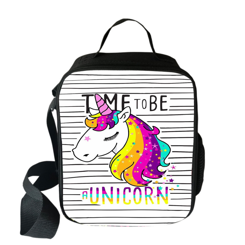 Fashion Printing Unicorn Lunch Bag For Kids Students Girls Food Bag Bento Pouch Insulation Package Portable School Storage Bags