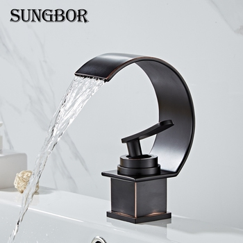 Basin Faucet Waterfall Black with Brushed Bathroom Basin sink Faucet Cold Hot Water Mixer Taps Crane torneiras banheiro AL-7086H