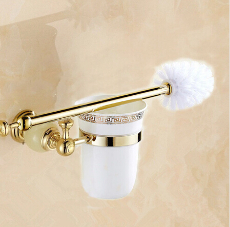 Free Shipping Jade Golden Brass Bathroom Accessories Toilet Brush Holders with cup set Wall Mounted Brush Holder Sanitary wares