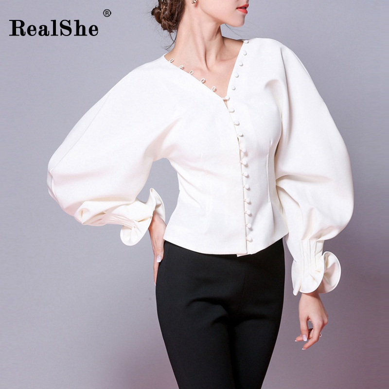 RealShe Fashion Blusas Mujer De Moda 2018 Autumn Women Sexy V-Neck Petal Sleeve Women   Blouses     Shirt   Ladies Casual Tops Blusas