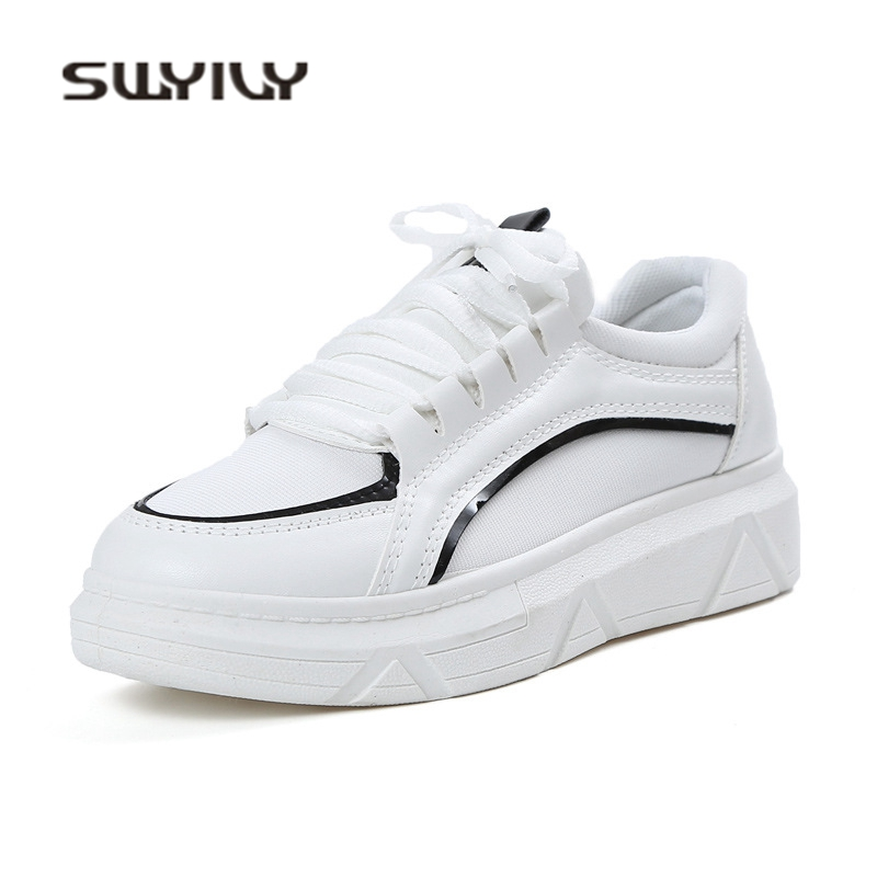 SWIYVY White Platform Sneakers Woman Spring 2018 Breathable Casual Shoes 40 Blue Student White Shoes Fashion Woman Sneakers Flat