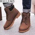 Wikileaks Venta Caliente de Los Hombres Botas de Invierno Botas Masculina Nueva PU hombres Botas de Nieve Más El Tamaño de Algodón de Invierno Cálido Zapatos Zapatillas Hombre