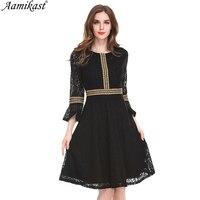 Aamikast Women Sexy Lace Dress See Through Sleeve Ruffles Retro A Line Dresses Autumn Patchwork Black Female Vestido D0686