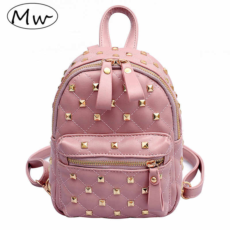 Moon Wood Fashion Small Pink Rivet Backpack PU Leather Women Mini Lingge  Backpack 2019 Girls Crossbody 6ae7e50ff4