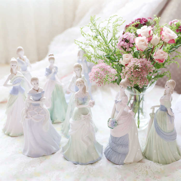ceramic doll girls statue home decor crafts room decoration vintage rose porcelain girls lady figurines wedding decorations gift