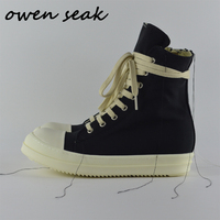 19ss Owen Seak Men Canvas Shoes High TOP Ankle Lace Up Luxury Trainers Sneakers Boots Casual Brand Zip Flats Shoes Black Big