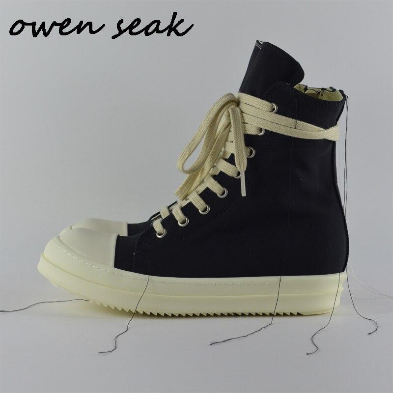 19ss Owen Seak Scarpe di Tela Degli Uomini di Alta TOP Caviglia Lace Up di Lusso Sneakers Sneakers Stivali Casual di Marca Zip Appartamenti scarpe Nero Grande-in Scarpe casual da uomo da Scarpe su  Gruppo 1