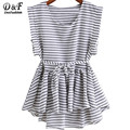 Brand Clothing China Ladies Black and White Striped Tops Pleated Sleeveless Round Neck Dip Hem High Low Peplum Loose Blouse