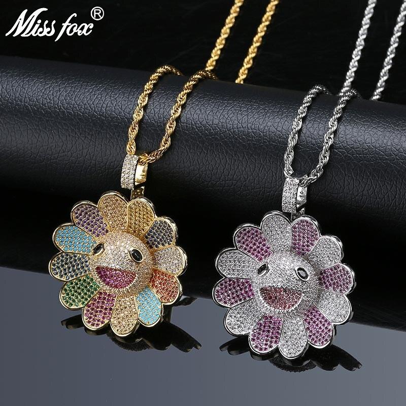 MISSFOX Hip Hop Takashi Murakami Soleil Fleur Collier En Or AAA Cubique Zircone De Tournesol Valentine'S Day Mode Coréenne Bijoux