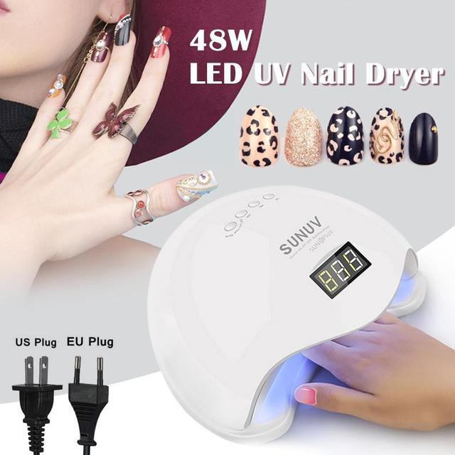 Nail Polish Dryer 48W LED Light Drying Lamp Fingernail Gel Manicure ...