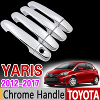 for Toyota Yaris XP130 Vitz 2012 2017 Luxurious Chrome Handle Cover Trim Set 2013 2014 2016 Car Accessories Sticker Car Styling