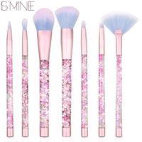 ISMINE 7 Pcs Newest Liquid Glitter Crystal Handle Pink Color Cosmetic Make Up Brushes Set