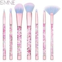 ISMINE 7 Pcs Newest Liquid Glitter Crystal Handle Pink Color Cosmetic Make Up Brushes Set