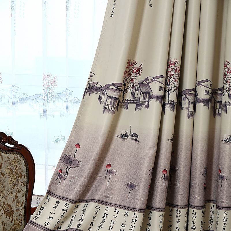 Chinese Characters Hand Drawing Curtains For Living Room Architecture Printed Curtains For Bedroom Window Curtain Fabric Panel
