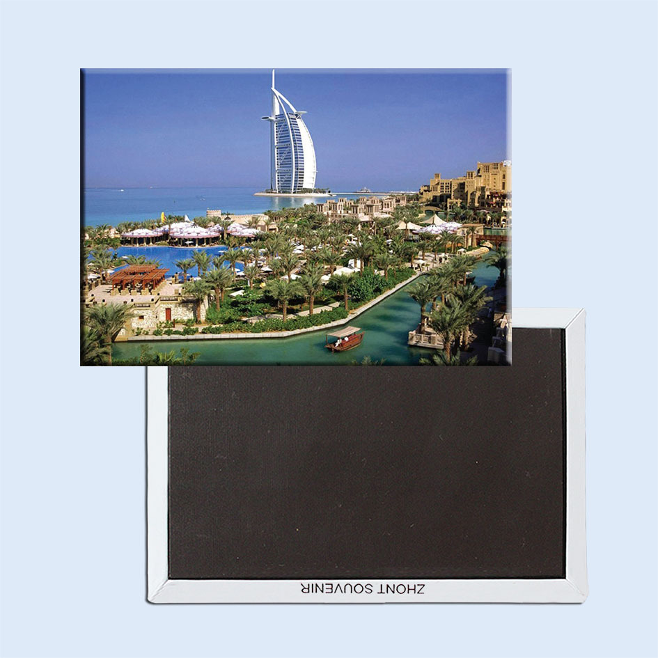 "Rectangle Rigid Magnets , UAE Dubai Sailing Hotel Scenery Tourist Rectangle 3""*2"" Metal Fridge Magnet 5374 For Fridge"