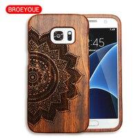 BROEYOUE Cas Pour Samsung Galaxy S7 G930 Bois Cas Coque Sculpture Téléphone Couverture Personnalisée Drop Shipping Naturel Couverture En Bois En Bambou